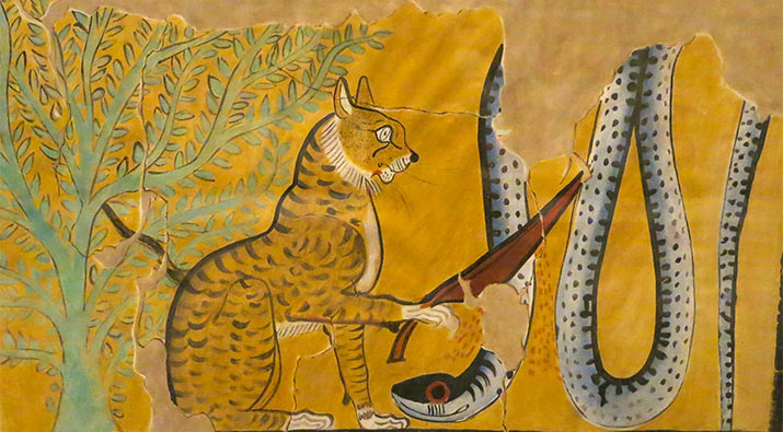 cat-snake-egyptian-tomb-painting