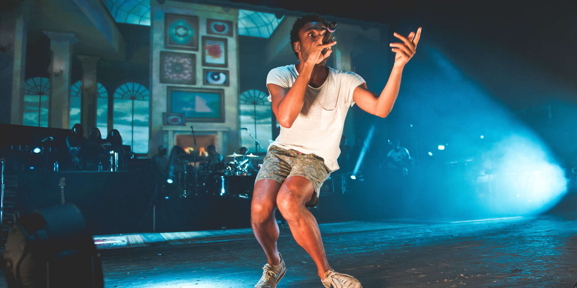 LONDON, UNITED KINGDOM - AUGUST 19: Childish Gambino performs on stage at Brixton Academy on August 19, 2014 in London, United Kingdom. (Photo by Joseph Okpako/Redferns via Getty Images)